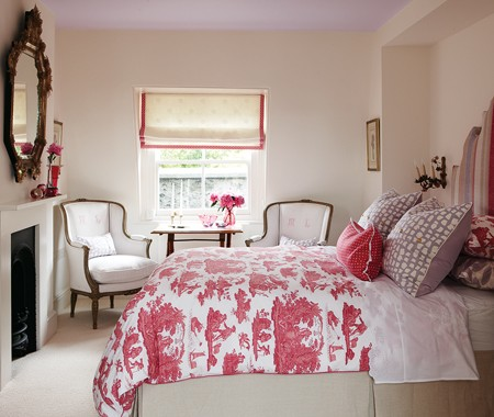 Designer Sarah Richardson Chose A Lavender Color For This Ceiling To  Contrast Softly With The Red Toile Bedspread. Crisp, Relatively Unadorned  Walls Are ...