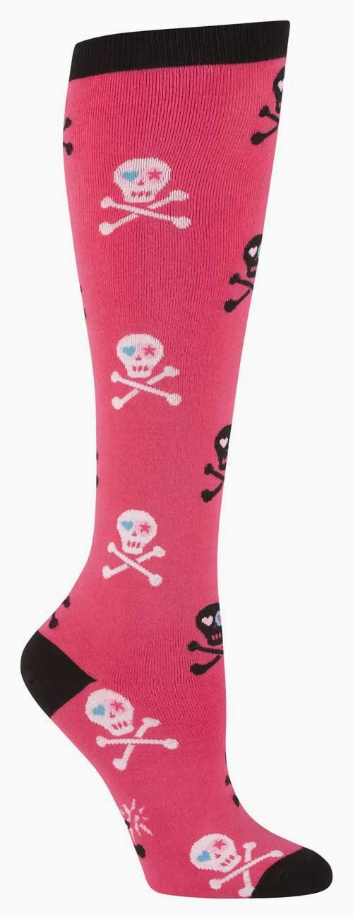 Roller Derby Socks Knee Pink Skulls White Black