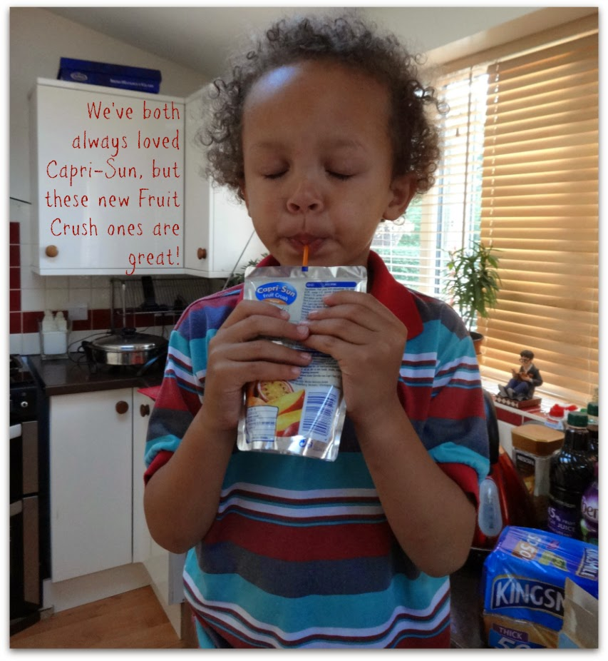 My Aaron drinking his Capri-Sun - Thirsty Work