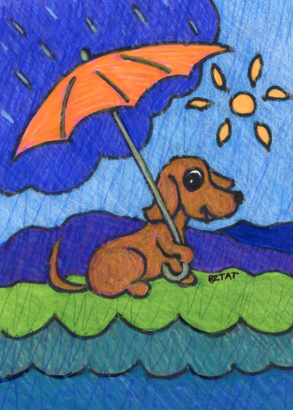 Amazon Cares dog umbrella drawing by bztat
