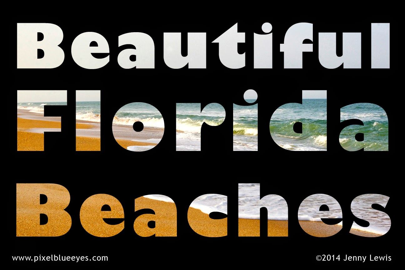 This image shows the text Beautiful Florida Beaches with ocean waves inside the text.