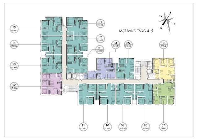 Mặt bằng tầng 4-6 tòa C chung cư Valencia Garden