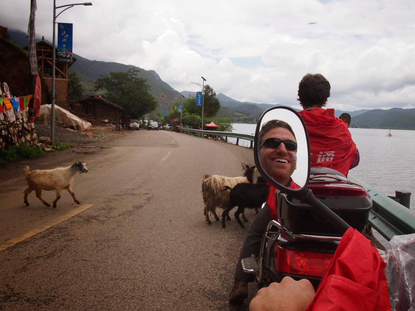 Motor biking around Lugu Lake