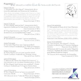 programa de actos del homenaje a unamuno en Candelario Salamanca