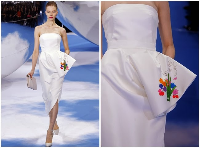 Christian Dior 2013 AW White Midi Twill Skirt with Andy Warhol's 1958 Sketch