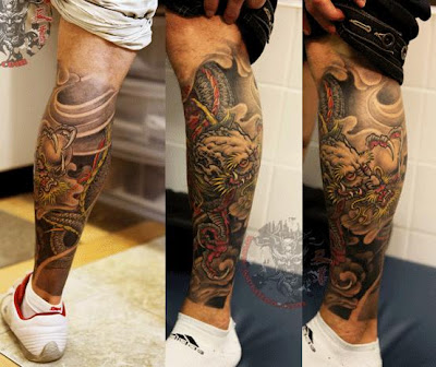 dragon tattoo design on the leg