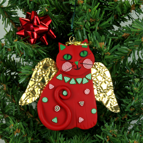 Melody o 39 beau designs cat angel christmas tree ornaments for Cat christmas ornaments craft