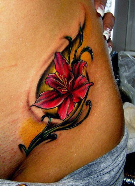 3D flower tattoo on front body