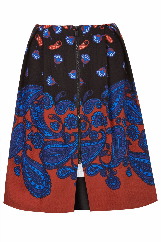 topshop paisley skirt