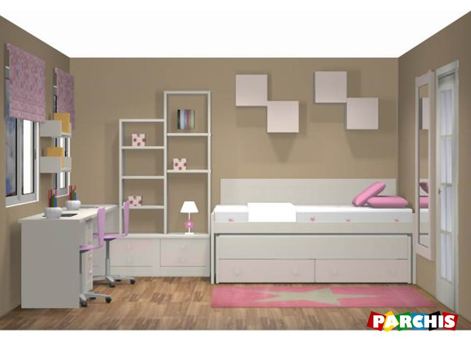 Dise o en 3d dormitorio infantil con acabado lacado for Mueble juvenil diseno
