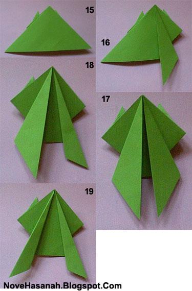 cara membuat origami kodok lompat