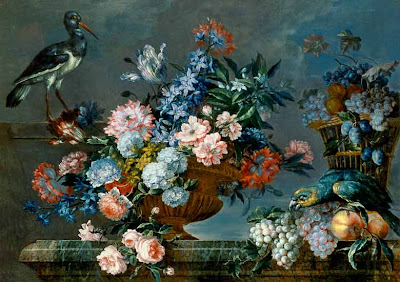 Jean-Baptiste Monnoyer (1636-1699)- Still Life of Fruit and Flowers with Birds