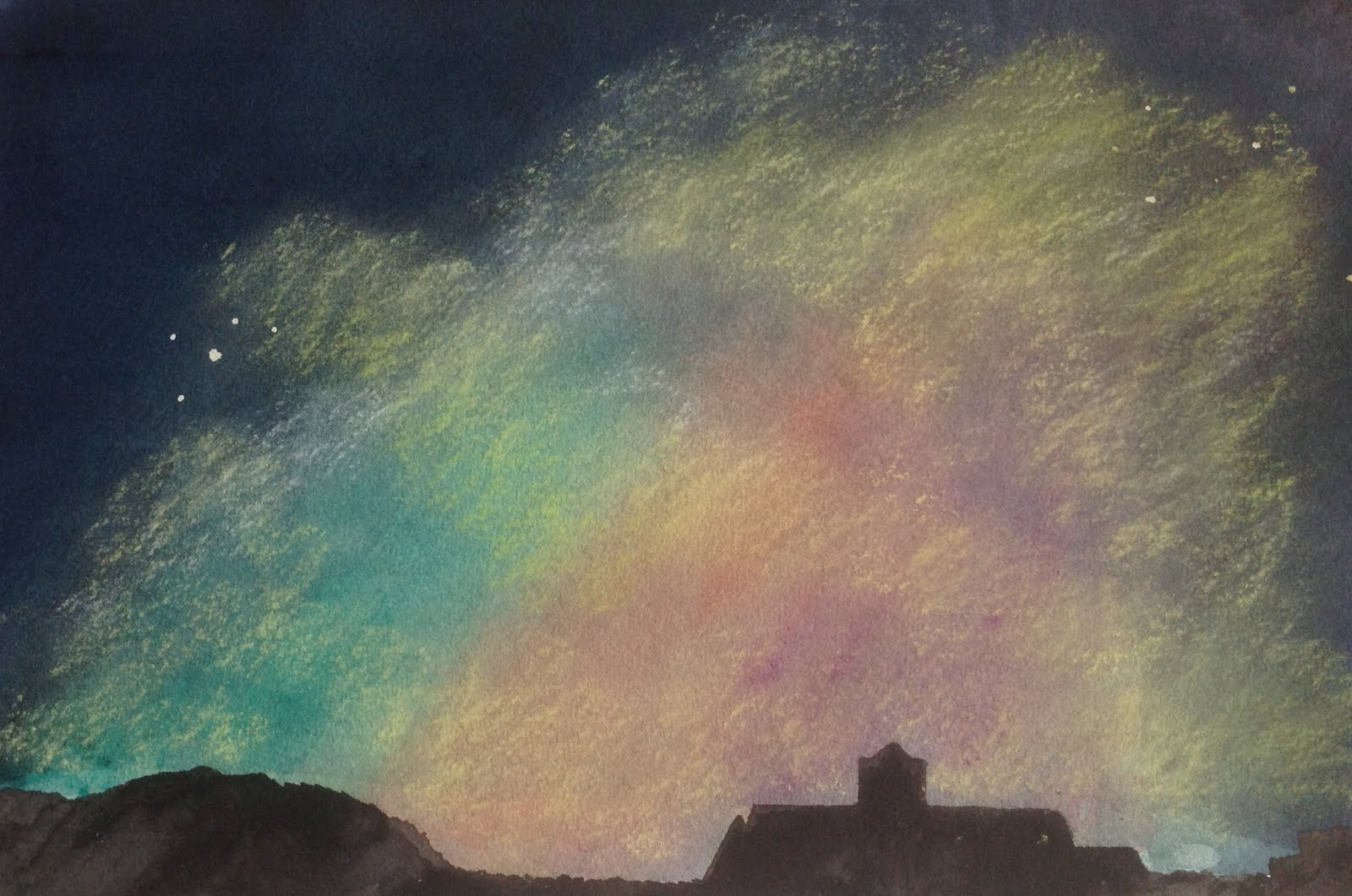 Aurora Imagined over Iona (Watercolour & pastel)