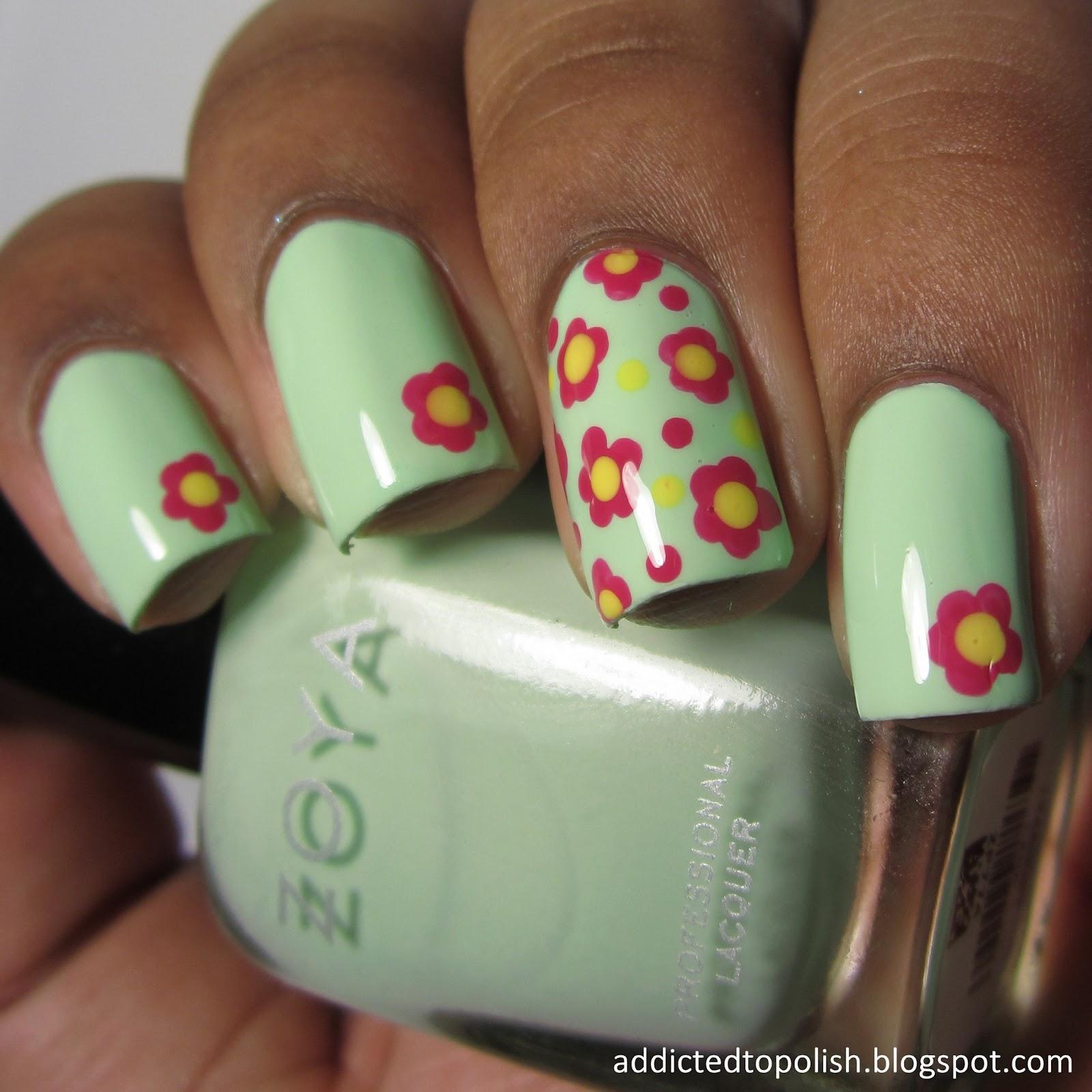 zoya tiana flower nail art