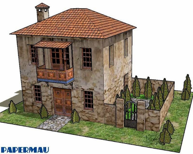Papermau Two Storey Roman House Paper Model By Papermau