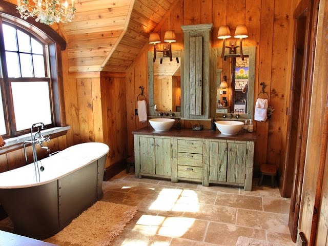 fantastic rustic bathroom lighting with traditional wooden bathroom vanity and antique wall mounted lamps
