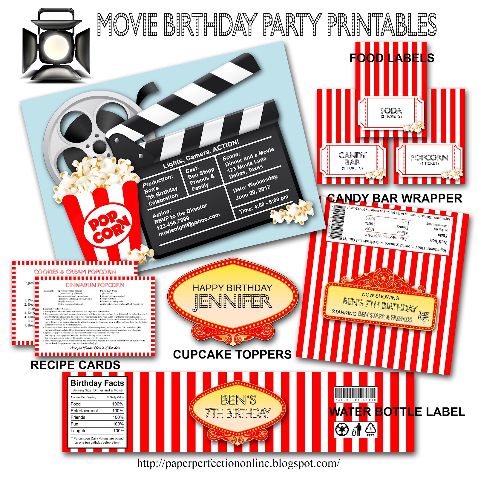 paper perfection movie birthday party invitation and printables - Movie Birthday Party Invitations