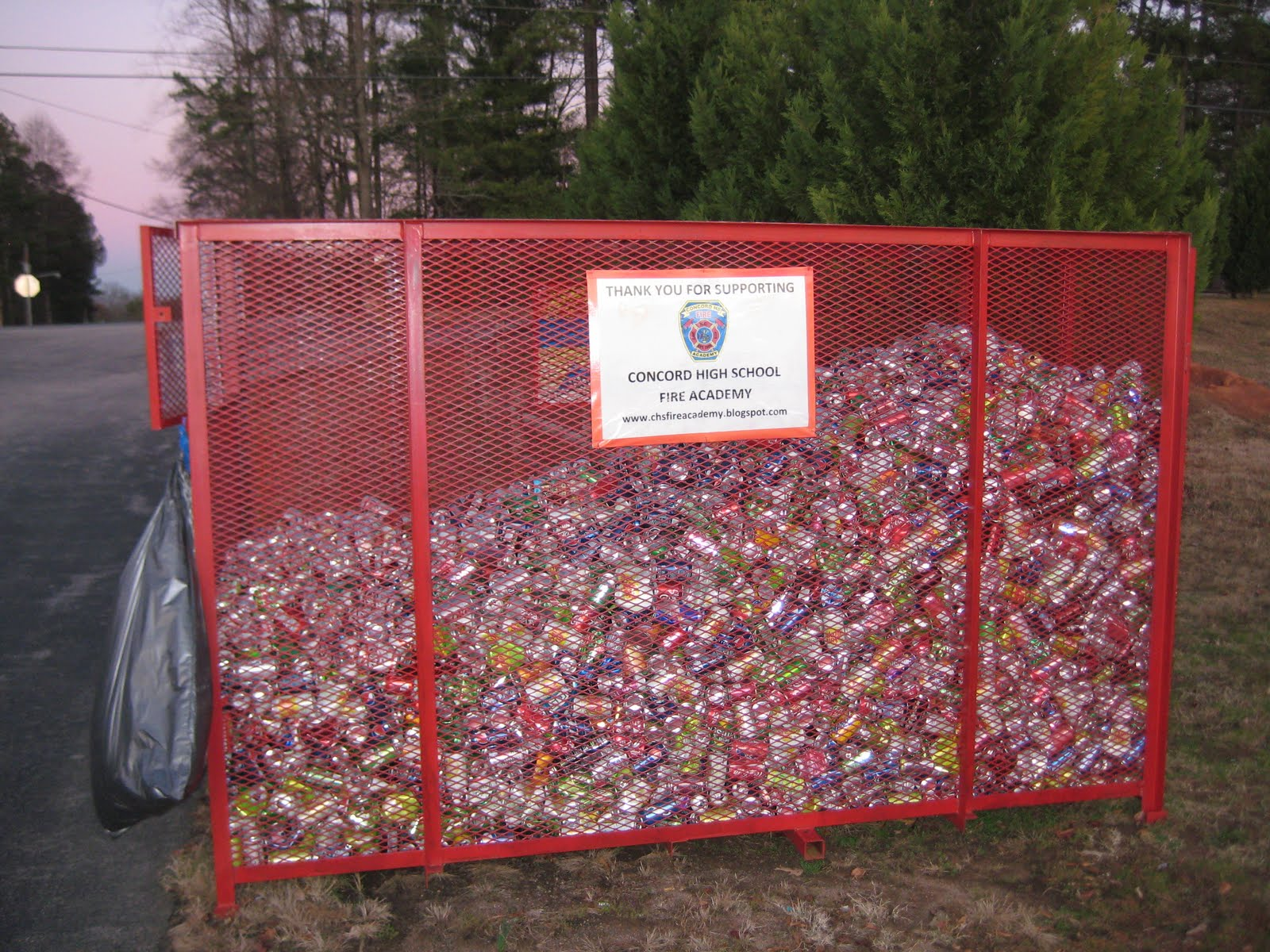 Concord high school fire academy aluminum can recycling for Recycling projects for school
