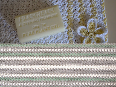 Collage of two photos. Top: Frangipani face washer; bottom: 'Love Scarf' with lengthwise stripes of grey, cream and bottle green.