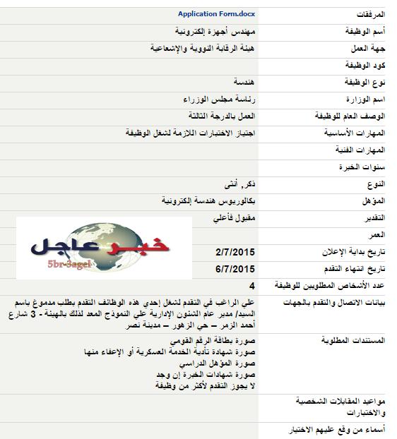 التقديم الان - وظائف مجلس الوزراء لهندسة وعلوم وتجارة واداب وحقوق وزراعة والدبلومات