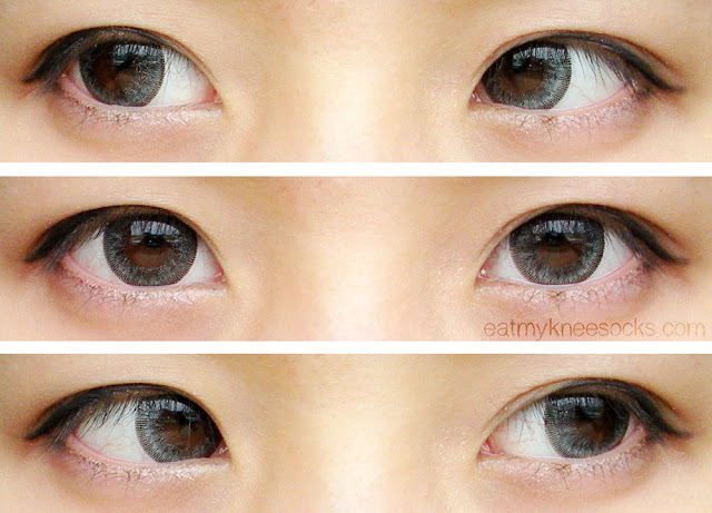 Left, right, and center views of the T.Top Ice Flower Gray circle lenses from Klenspop, worn with simple ulzzang-inspired eye makeup.