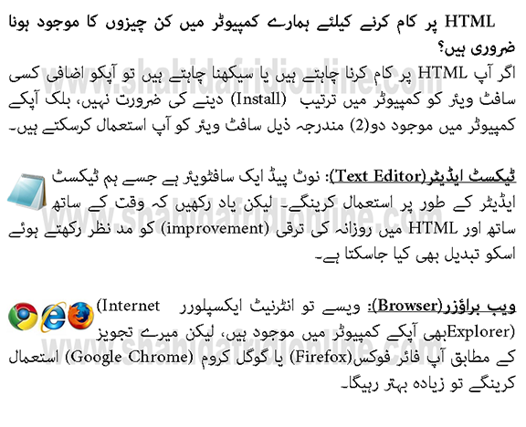 Learning Free HTML Tutorial in Urdu Step by Step By Shahid Afridi Class 1-2