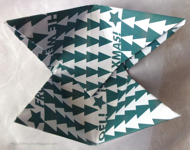 Origami Tetraeder-Box Module ineinanderstecken Innenansicht