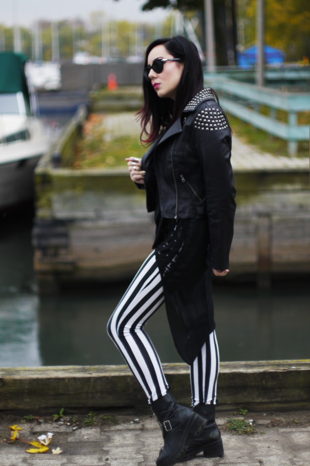 OOTD: Stripes, Leather and Crosses - Tara Mason