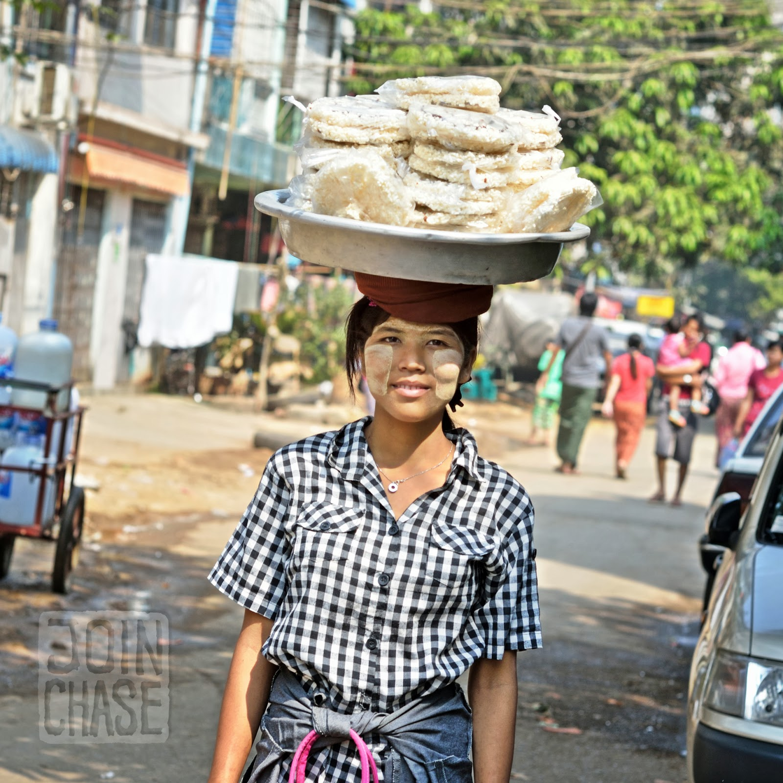 One of the many street sellers in Ahlone Township. Yangon, Myanmar.