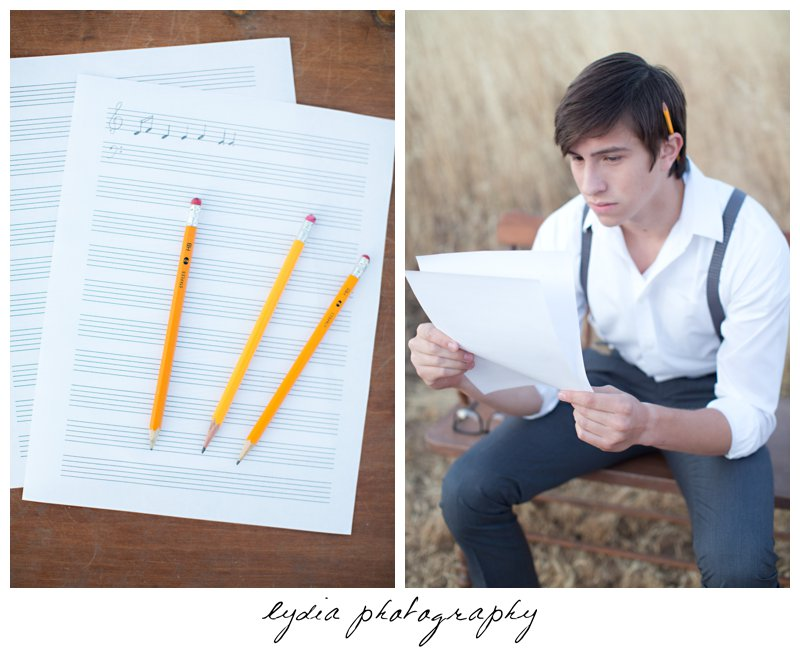 Senior guy writting a music piece at Forest Lake Christian senior lifestyle portraits in Rocklin, California