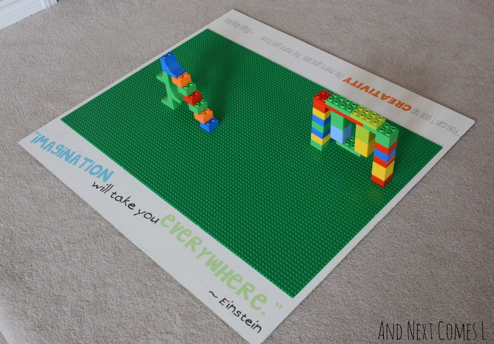 Portable homemade Lego table for kids from And Next Comes L