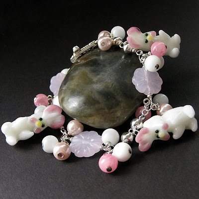 Charm Bracelet with White Bunny Lampwork Beads