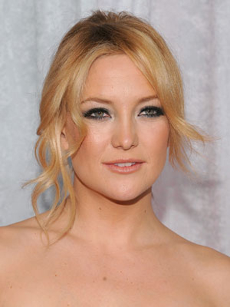 Delicate texture adds a playful note to Kate Hudson's loose ballerina bun.