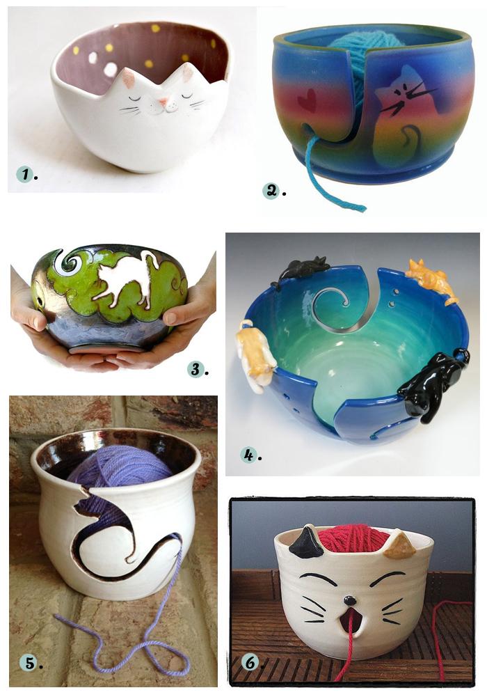 Cat Yarn Bowls