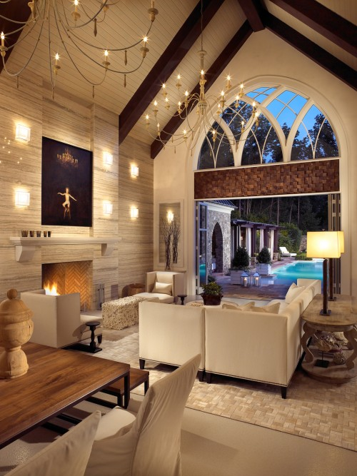 Modern Living Room Cathedral Ceiling