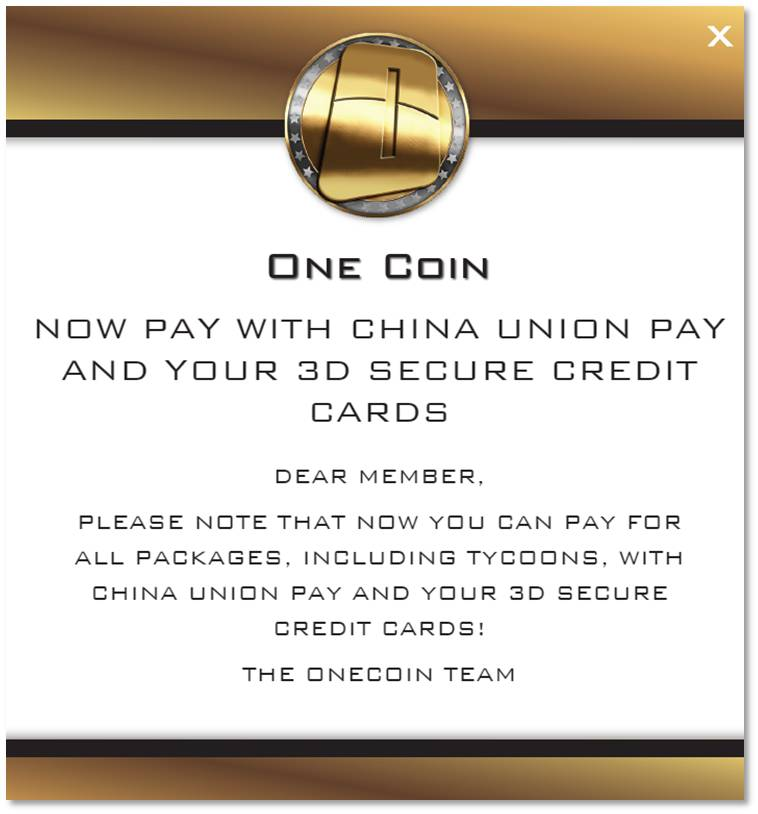 onecoin queen great news now all packages can be bought using credit card 071715. Black Bedroom Furniture Sets. Home Design Ideas