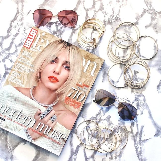 Jelena Zivanovic Instagram @lelazivanovic.Glam fab week.H&M gold accessories.