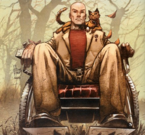 Professor X with the cat