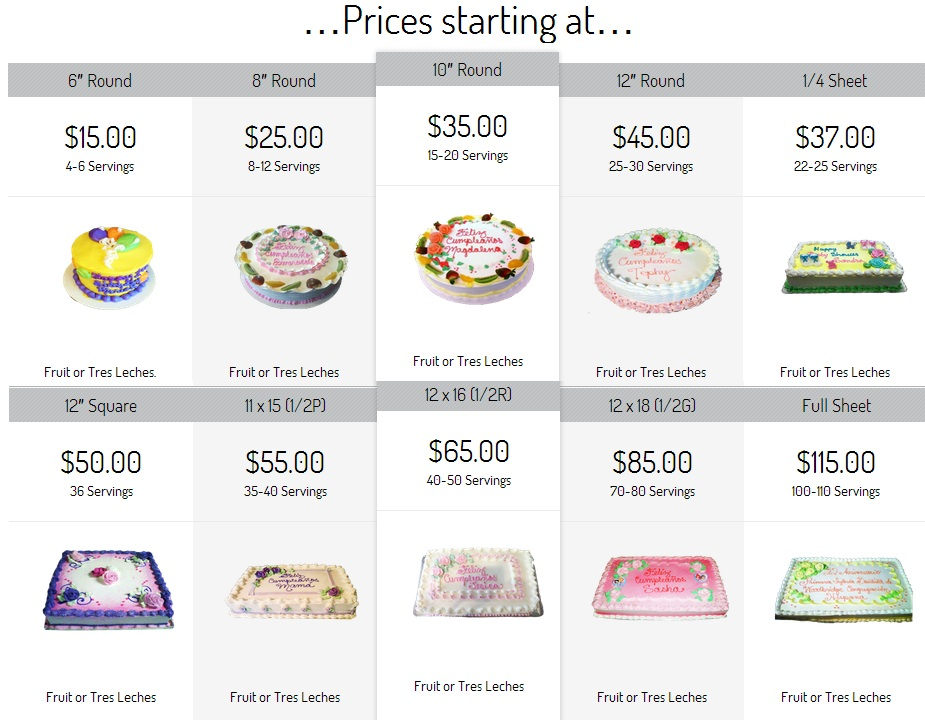 Cakes Prices Nanis Etc