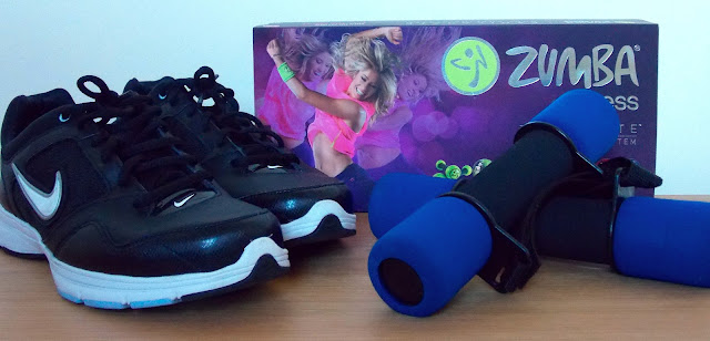 A picture of Nike Trainers, Zumba and hand weights
