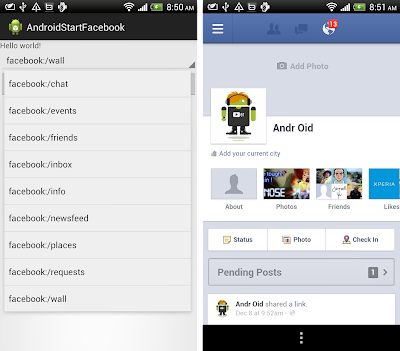 Launch Facebook app from a specified page, using intent with ACTION_VIEW.