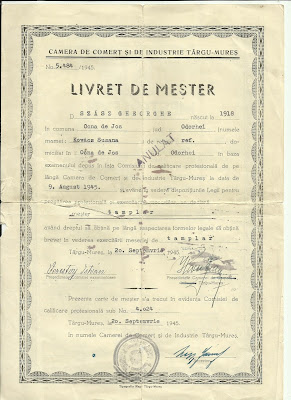 Mesterlevél - román változat