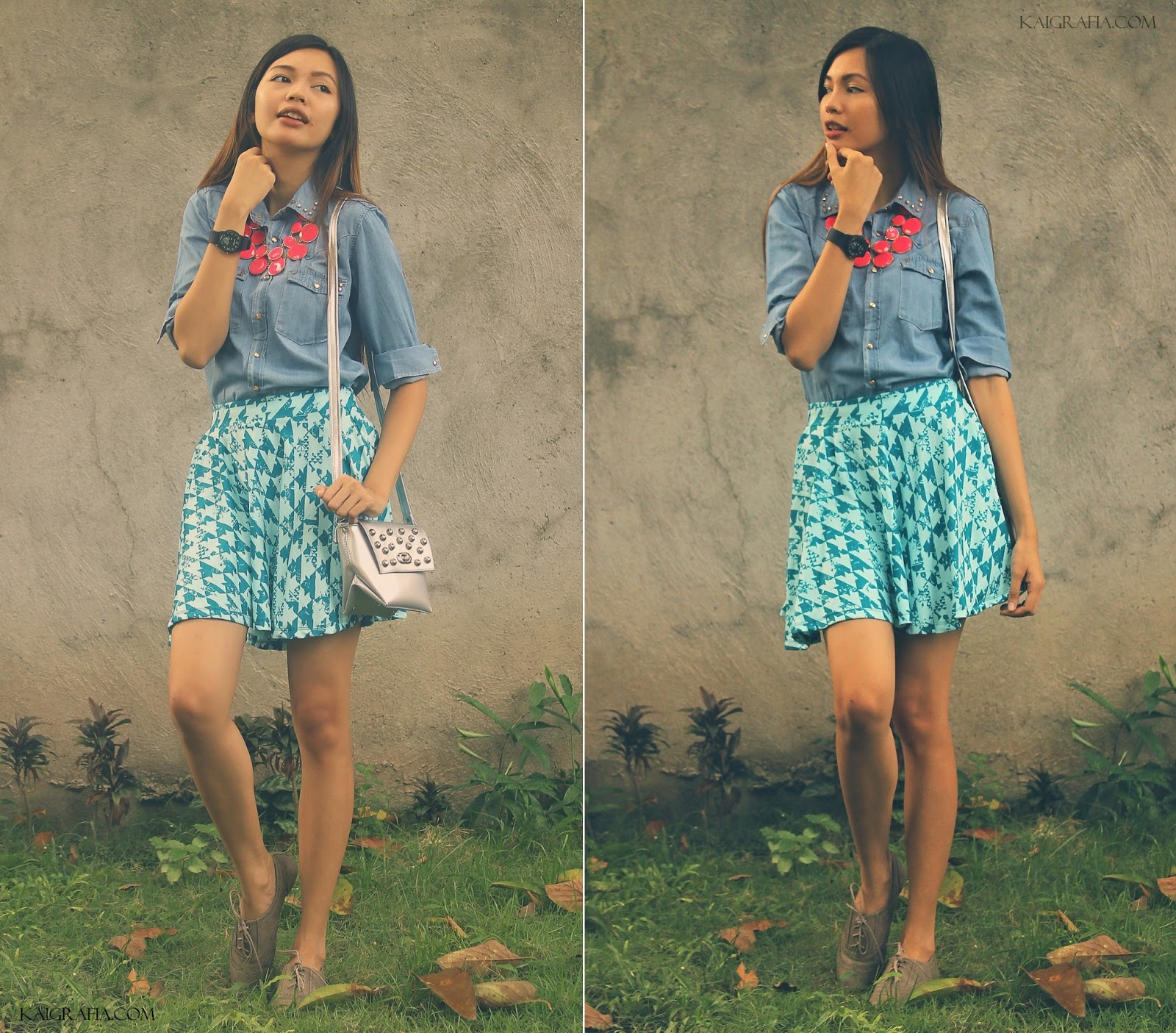 how to wear chambray shirt with skater skirts laid back look