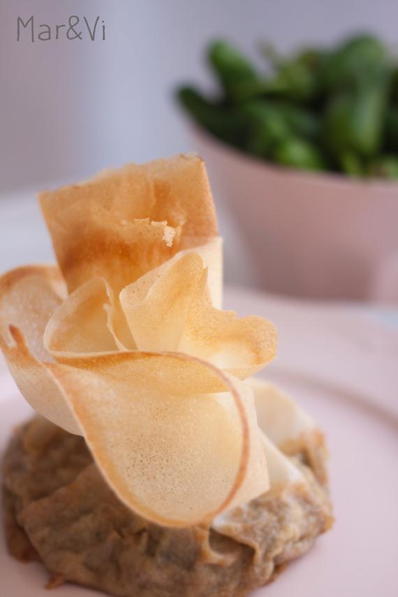 saquitos de pasta brick rellenos de champiñon y jamón