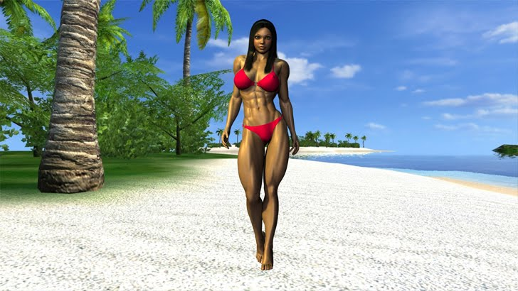 A 3D Rendered Muscular Female In A Red Bikini By Artist Plinius