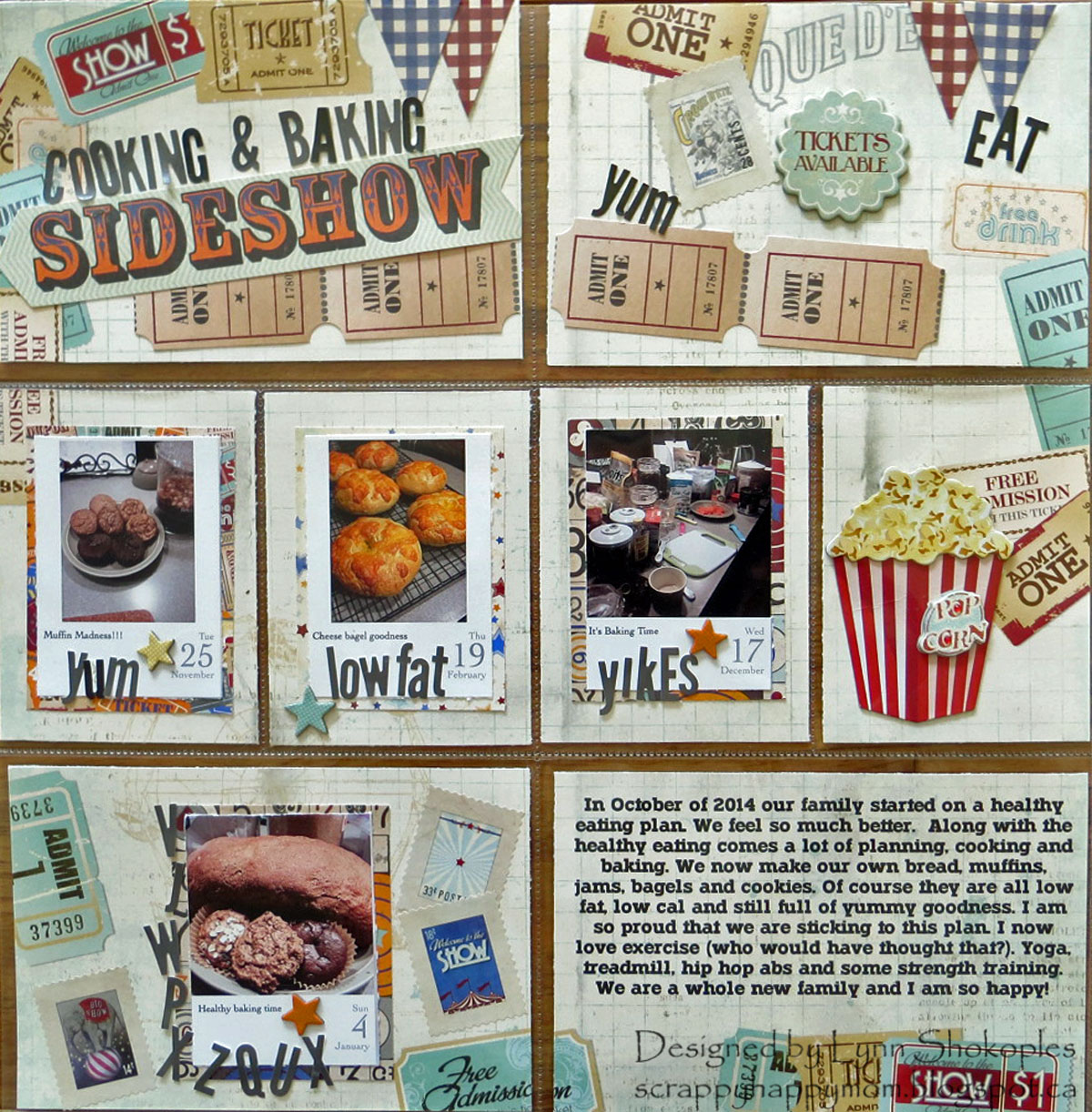 Sideshow Misc.Me layout by Lynn Shokoples for BoBunny featuring the Carnival Collection and Tuxedo Alphabet Stickers