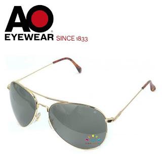 AO Military Flight Gear Aviator Sunglasses (Gold, Non-Polarized)