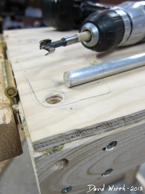 miter saw lock bars, base, pipe, holes