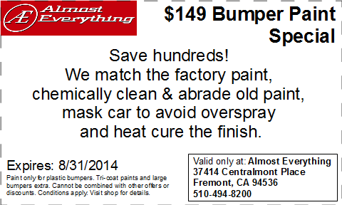Discount Coupon Almost Everything $149 Bumper Paint Sale August 2014