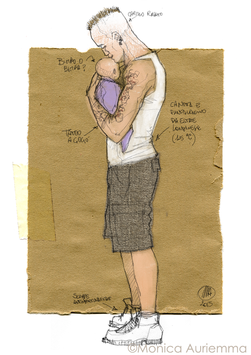 scketch portrait of a man with his baby-monicauriemma